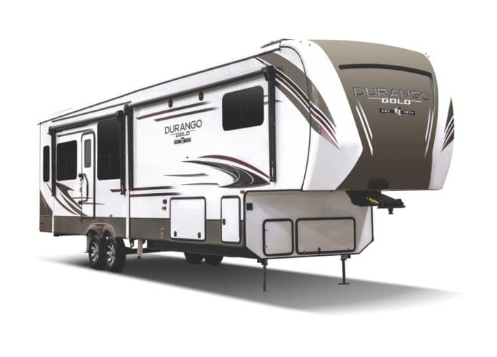 Fifth Wheel Trailer on white background
