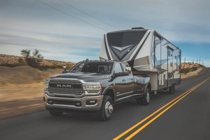 2019 Ram 3500 Heavy Duty Limited Crew Cab Dually pulling fifth wheel trailer